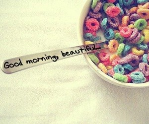 cereal, rainbow, and message image