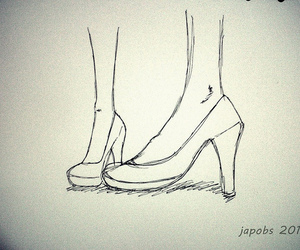 fashion, high heels, and sketch image