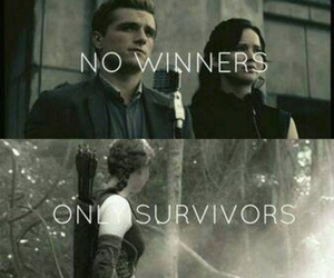the hunger games, peeta, and katniss image