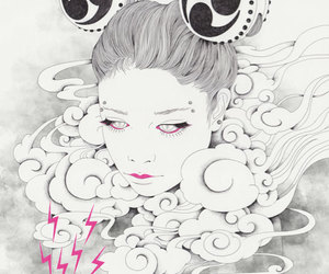 clouds, girl, and illustration image