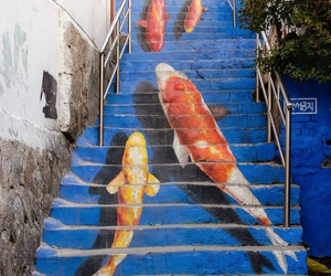fish, art, and stairs image