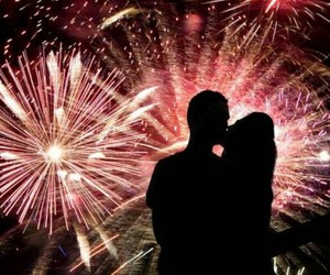 couple, fireworks, and kiss image