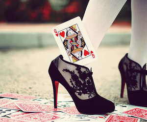 shoes, black, and cards image