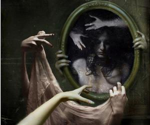 mirror, black and white, and hands image