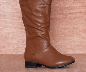 Cognac, faux leather, and over the knee boot image