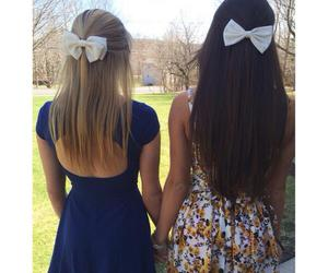 blonde, bow, and brunette image