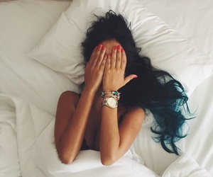girl, hair, and bed image
