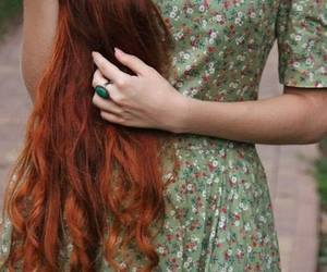 hair, dress, and red image