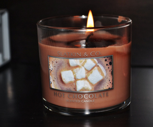 candle, chocolate, and hot chocolate image