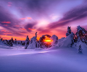winter, snow, and sunset image