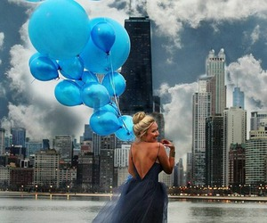 dress, balloons, and blue image