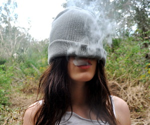 smoke, girl, and smoking image