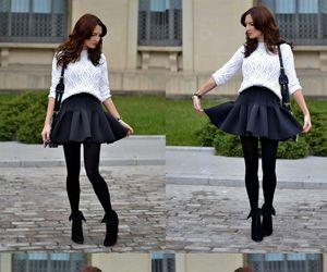bag, black tights, and booties image