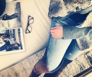boots, cozy, and denim image