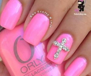 nails, pink, and cross image