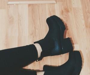 black, blackandwhite, and boot image