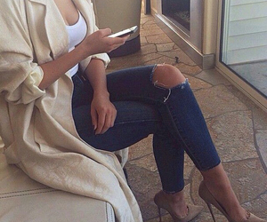 coat, heels, and ripped jeans image