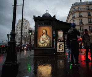 art, bus stop, and city image
