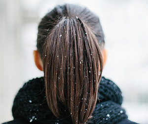 hair, snow, and girl image