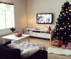 christmas tree, livingroom, and tv image