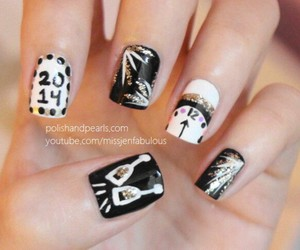 black, happy new year, and nail art image