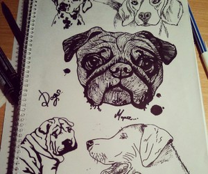 art, beagle, and dogs image