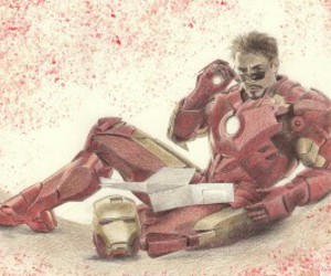draw, funny, and iron man image