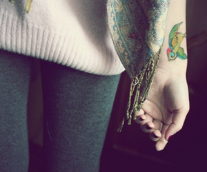 bird, scarf, and tattoo image