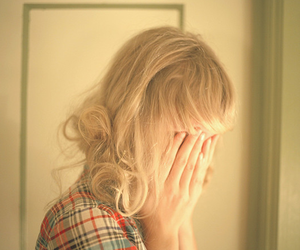 girl, blonde, and sad image