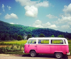 pink car, retro, and vacation image