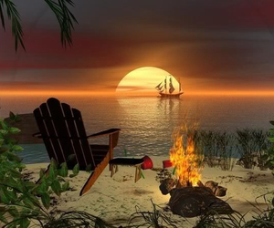 beach. sunset. image