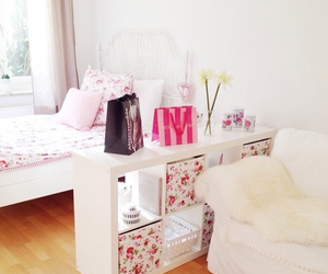 floral, room, and pink image