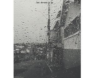 black and white, rain, and sad image