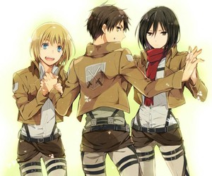 armin, attack on titan, and mikasa image