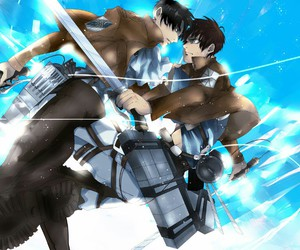 shingeki no kyojin, eren jaeger, and levi ackerman image