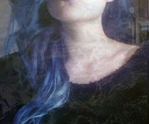 blue, coloured hair, and dark image