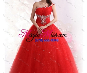 one shoulder, perfect red, and sweet 15 dresses image