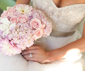 flowers, wedding, and dress image