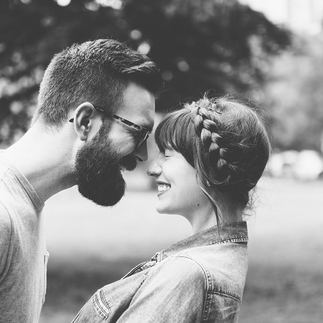 black and white, in love, and laughing image