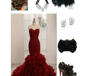 black, evening gown, and classy image