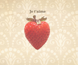 strawberry, je t'aime, and french image