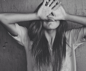 black and white, covering face, and fun image