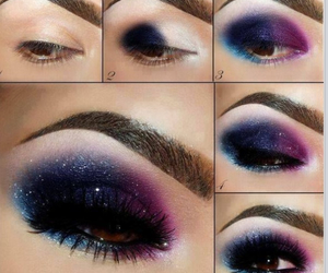 makeup, galaxy, and eyes image