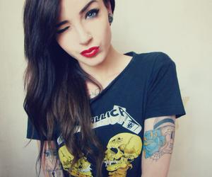 girl, tattoo, and metallica image
