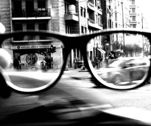 glasses, black and white, and city image