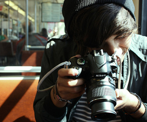 boy, camera, and nikon image