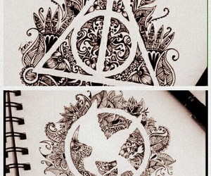 harry potter, hunger games, and art image