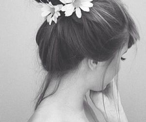 black and white, bun, and daisies image