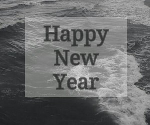 december, black and white, and happy new year image