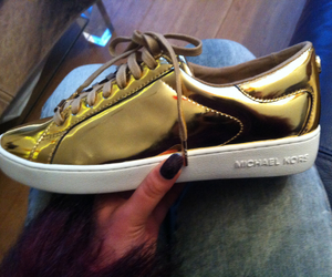 gold, shiny, and sneakers image